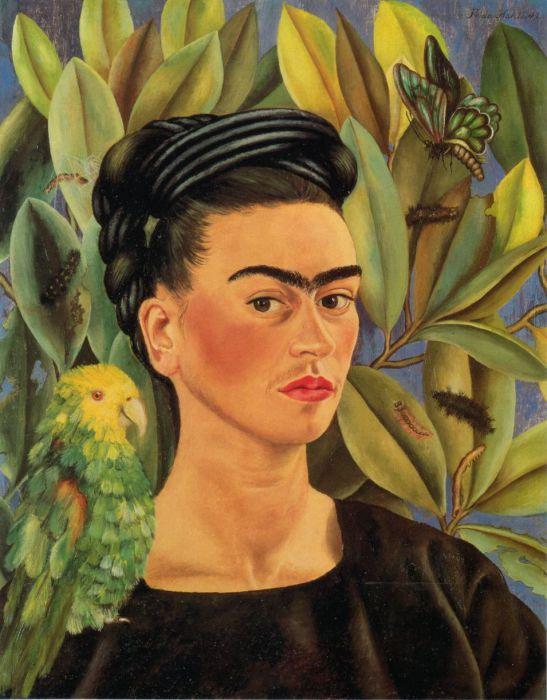 Autoritratto con pappagallo - Opera originale di F.Kahlo