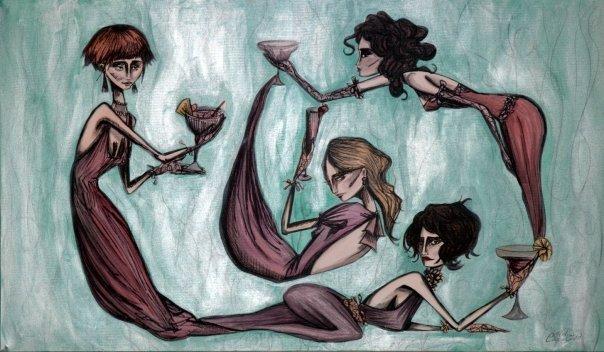 Donne con drink, Clelia Catalano 120×60 cm